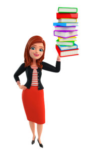 Illustration of corporate lady with pile of books