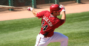 Arizona Diamondback Conor Jackson Batting in a Spring Training Game on March 18, 2009, at Tucson Electric Park, Tucson, Arizona