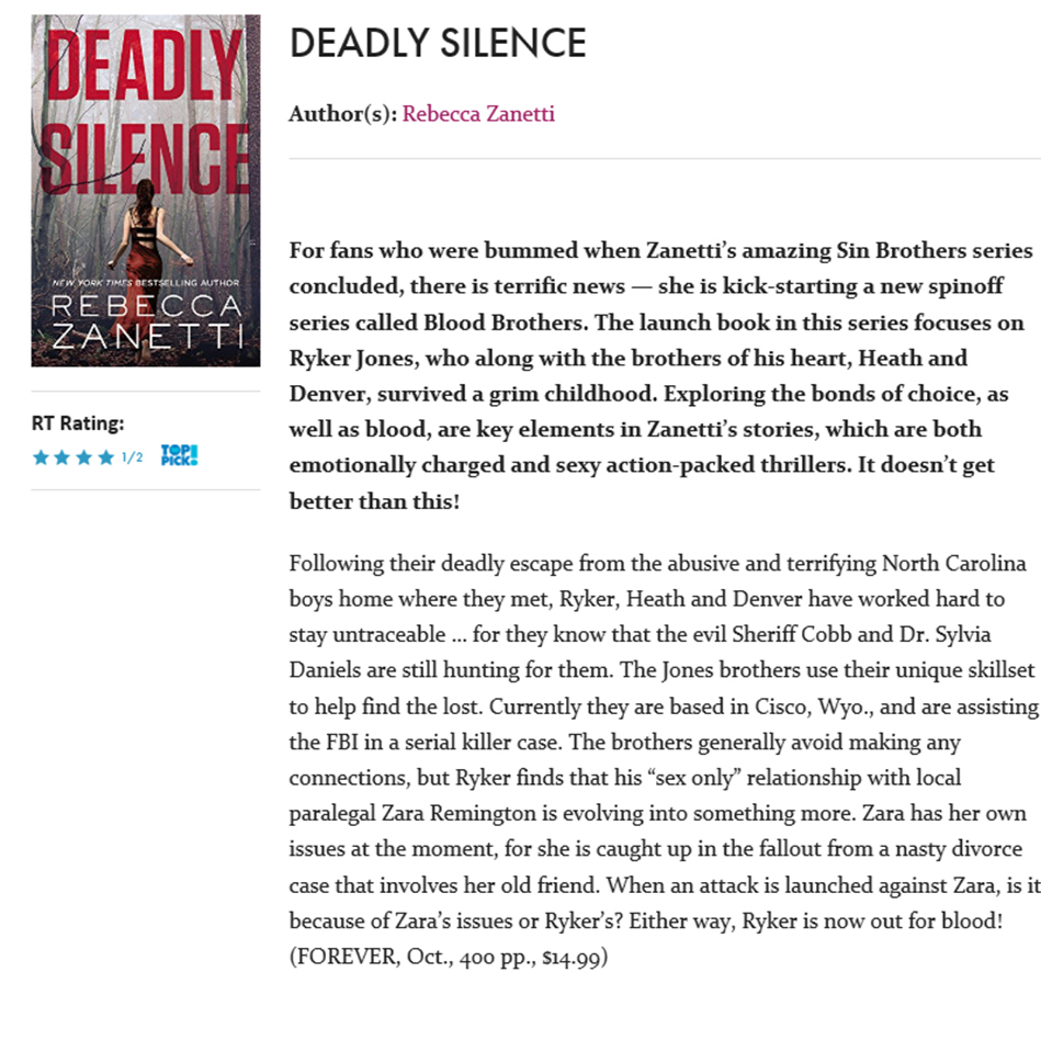 RT Deadly Silence Top Pick Review